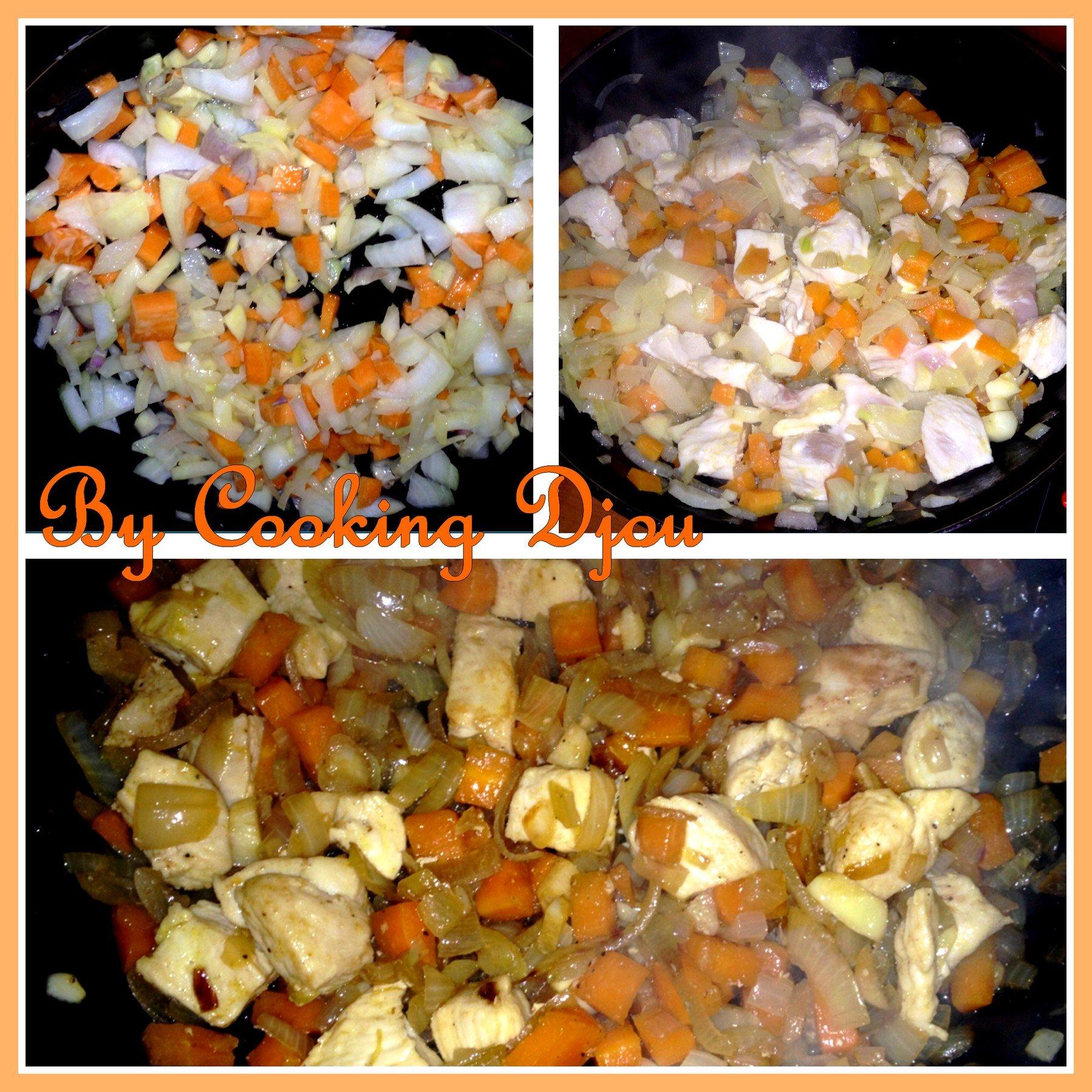 Poulet oignons carotte